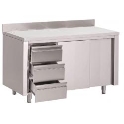 Table armoire inox avec dosseret 3 tiroirs à gauche et portes coulissantes Gastro M 850x1200x700mm