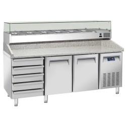 Coolhead - Table à pizza réfrigérée dessus granit 2 portes + Bloc 5 tiroirs neutres