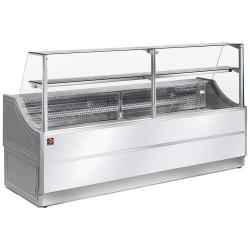 Comptoir 2500 mm vitrine réfrigérée à vitre droite 90° avec réserve