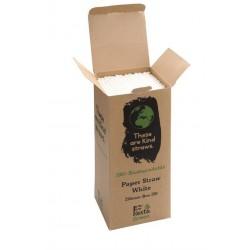 Pailles en papier compostables Fiesta Green blanches