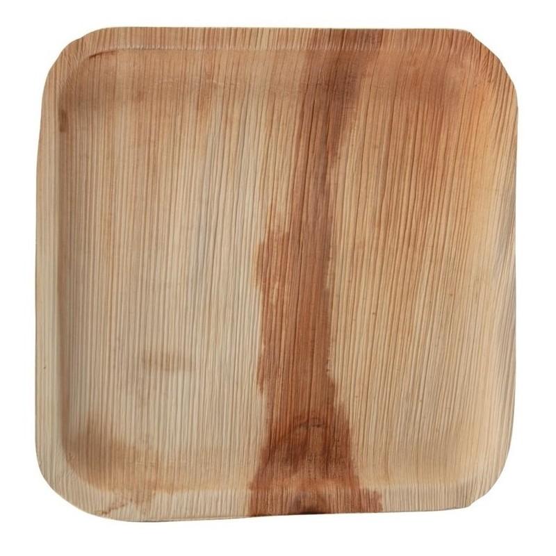 Assiettes plates rondes ou carrées en feuilles de palmier Fiesta Green 250mm