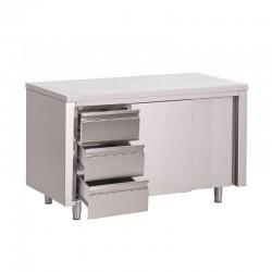 Gastro M - Table armoire avec portes coulissantes et 3 tiroirs