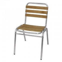 Bolero - Chaises Bistro frêne aluminium (lot de 4)