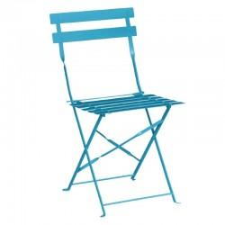 Bolero - Chaises de terrasse en acier bleu turquoise (lot de 2)