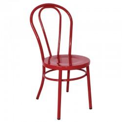 Bolero - Chaises style bois courbé en acier Rouges (lot de 2)