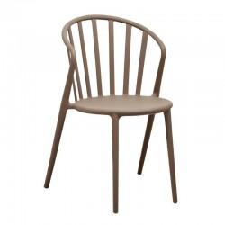Bolero - Chaises à barreaux en PP café (lot de 4)