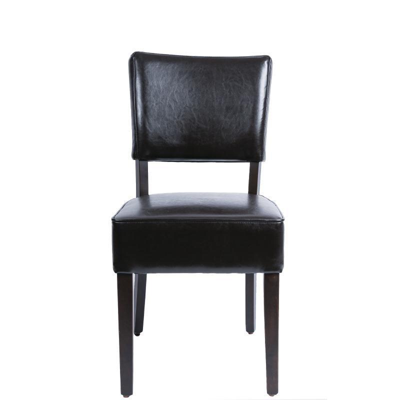 Bolero - Chaises confortables en simili cuir marron foncé (lot de 2)