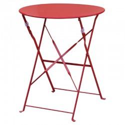 Bolero - Table de terrasse en acier rouge