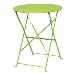 Bolero - Table de terrasse en acier vert anis