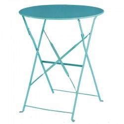 Bolero - Table de terrasse en acier bleu turquoise