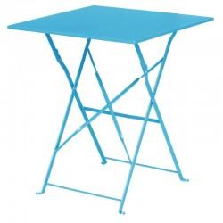 Bolero - Table de terrasse carré en acier bleu turquoise
