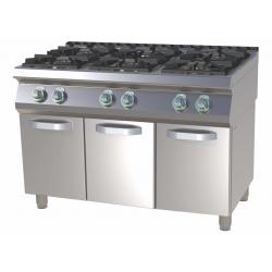 RM Gastro - Plan de cuisson 6 feux vifs sur placard ouvert