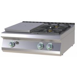 RM Gastro - Plan de cuisson 2 feux vifs + Plaque coup de feu version TOP