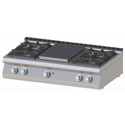 RM Gastro - Plan de cuisson 4 feux vifs + Plaque coup de feu version TOP