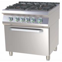 RM Gastro - Fourneau 4 feux vifs sur four électrique GN 2/1