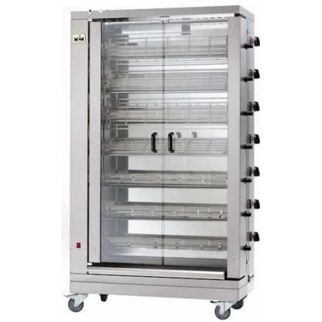MCM - Rôtissoire verticale gaz 7 broches spéciale pour poulets ouverts