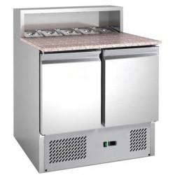 Le Shopping du Chef - Table à pizza réfrigérée dessus granit 2 portes