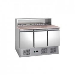 Le Shopping du Chef - Table à pizza réfrigérée dessus granit 3 portes
