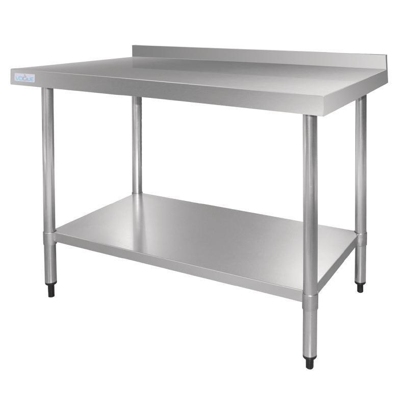Vogue - Table en acier inoxydable avec dosseret profondeur 700 mm