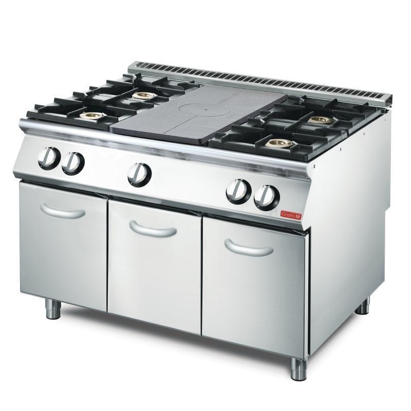 Gastro M - Plan de cuisson 4 feux vifs avec 1 plaque coup de feu sur placard ouvert