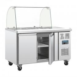 Polar - Comptoir de préparation réfrigéré GN avec pare-haleine 2 portes