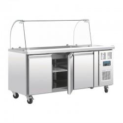 Polar - Comptoir de préparation réfrigéré 3 x GN avec pare-haleine 2 portes