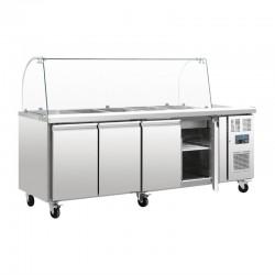Polar - Comptoir de préparation réfrigéré 4 x GN avec pare-haleine 2 portes