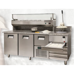 Morello Forni - Meuble réfrigéré 2 portes et 5 tiroirs avec pizzarella intégrée