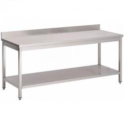 Gastro M - Table en acier inoxydable avec étagère basse et dosseret de 700 x 700 mm