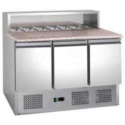 Coolhead - Table à pizza réfrigérée dessus granit 3 portes