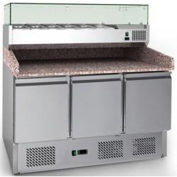 Coolhead - Table à pizza réfrigérée dessus granit 3 portes avec kit réfrigéré inclus