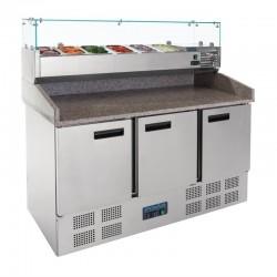 Polar - Comptoir de préparation à pizza avec son kit réfrigéré 6 x GN 1/4