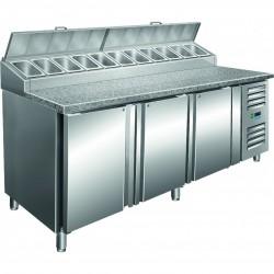Saro - Table à pizza ventilée 3 portes avec kit intégré 11 x GN 1/3