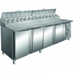 Saro - Table à pizza ventilée 4 portes avec kit intégré 14 x GN 1/3