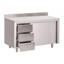 Gastro M - Table armoire inox avec dosseret 3 tiroirs à gauche et portes coulissantes