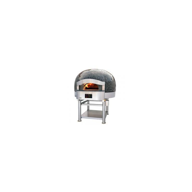 Morello Forni - FOUR ROTATIF À BOIS avec chauffage gaz ou électrique 6 pizzas finition Vulcano Mosaïque