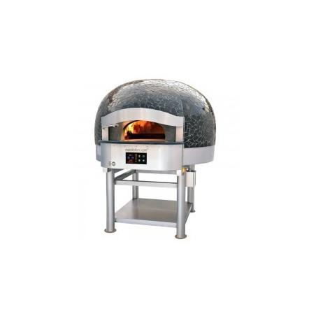 Morello Forni - FOUR ROTATIF À BOIS avec sôle électrique 4 pizzas finition coupole Mosaïque