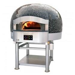 Morello Forni - FOUR ROTATIF À BOIS avec sôle électrique 8 pizzas finition Vulcano Mosaïque