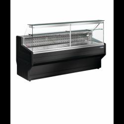 Diamond - Comptoirs vitrine réfrigérés à vitre droite 90°, avec réserve