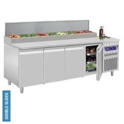 Diamond - Table frigorifique ventilée, 4 portes GN 1/1, 550 Lit.& structure réfrigérée 10x GN1/6