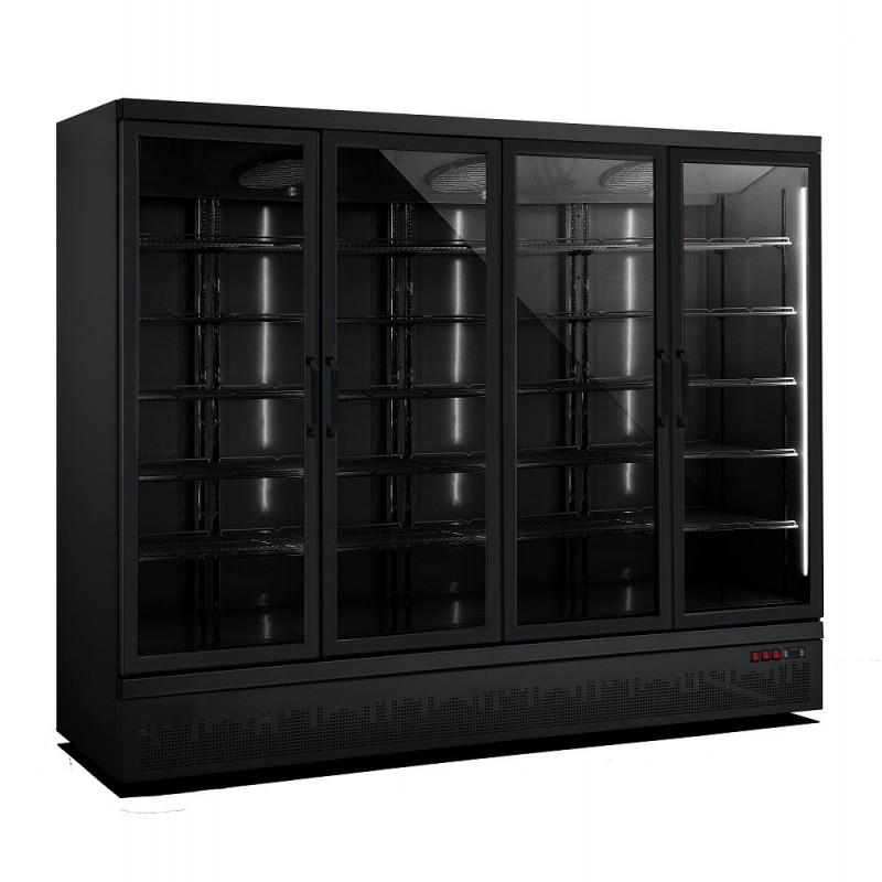 Combisteel - Vitrine réfrigérée positive 4 portes vitrées noire