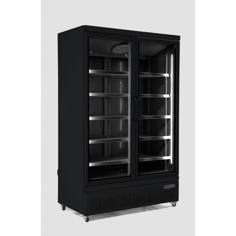 Combisteel - Vitrine réfrigérée positive 2 portes vitrées noire
