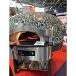 Morello Forni - FOUR ROTATIF À BOIS avec sôle électrique 5 pizzas finition Vulcano Mosaïque