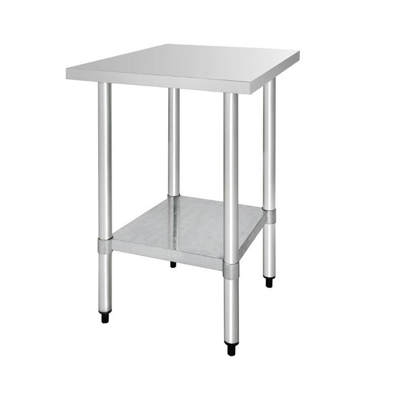 Vogue - Table de préparation en acier inoxydable sans rebord Vogue profondeur de 600mm